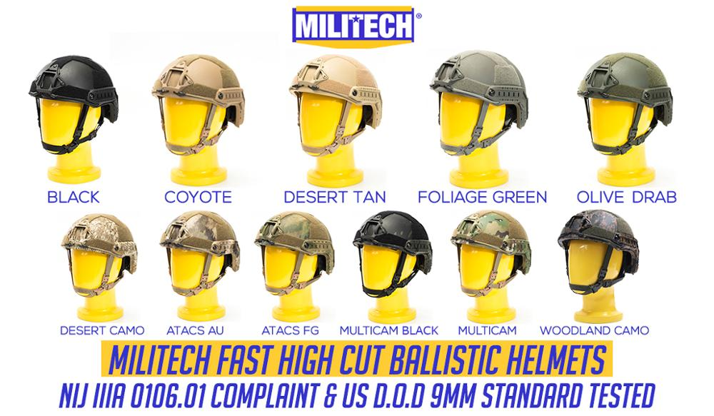 Ballistic Helmet NIJ Level IIIA 3A 2019 New Fast High XP Cut ISO Certified Bulletproof Helmet With 5 Years Warranty--Militech