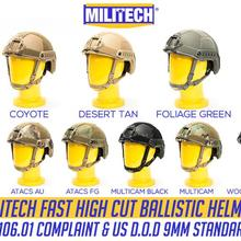 Ballistic Helmet Fast-High IIIA 3A Cut Ce Militech with 5-Years-Warranty--Militech Nij-Level