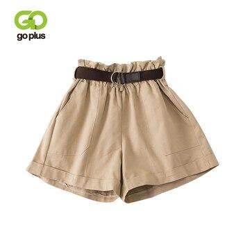 GOPLUS Summer Shorts Women Vintage Casual High Waist Ruffles Belt Solid Loose Leg White Pantalones Cortos Mujer