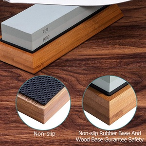 Image 4 - Sharpening Stone Set, Whetstone 2 IN 1 400/1000 3000/8000 Grit, Waterstone Wooden Holder and Knife Guide Included