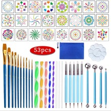 53Pcs/set Mandala Painting Dotting Tools DIY Crafts Art Dotting Rods Ball Stylus Pens Stencils Paint Tray Canva Rocks Fabric