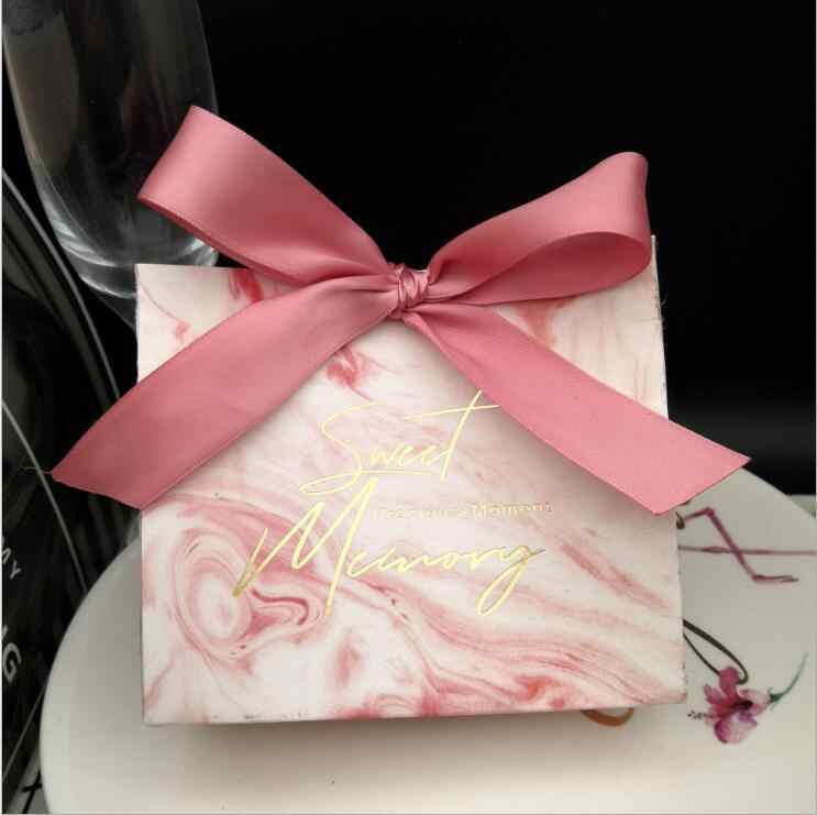 25Pcs Pink Marble Lines Candy Bag Box for Event Party Supplies/Wedding Favors Gift Boxes and Little Jewelry Packing Decoration