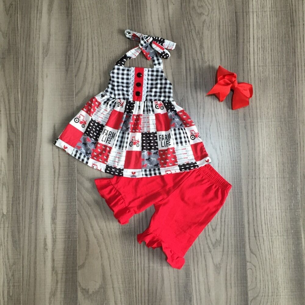 Baby Girls Summer Farm Outfits Girls Plaid Top Solid Red Pants Girls Truck Outfits With Bow