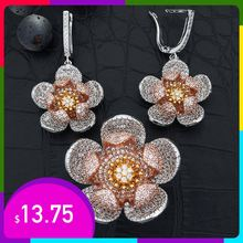 High Quality Cubic Zircon Three Tones Gold Flower Dangle  Earrings Ring Set for Women Wedding Party Jewelry Gift недорого