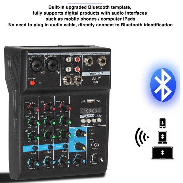 Console de mixage Audio professionnelle de mélangeur de bluetooth de 4 canaux avec leffet de réverbération pour le karaoké à la maison