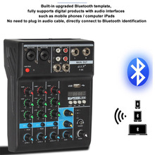 Professional 4 Channel bluetooth Mixer Audio Mixing Console with Reverb Effect for Home Karaoke USB Stage Karaoke KTV