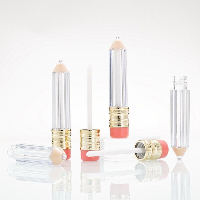 10pcs 5ml Empty Lip Gloss Tube Container Clear Lip Balm Tubes Pencil Shape Lipstick Fashion Refillable Bottles Lipgloss Bottles