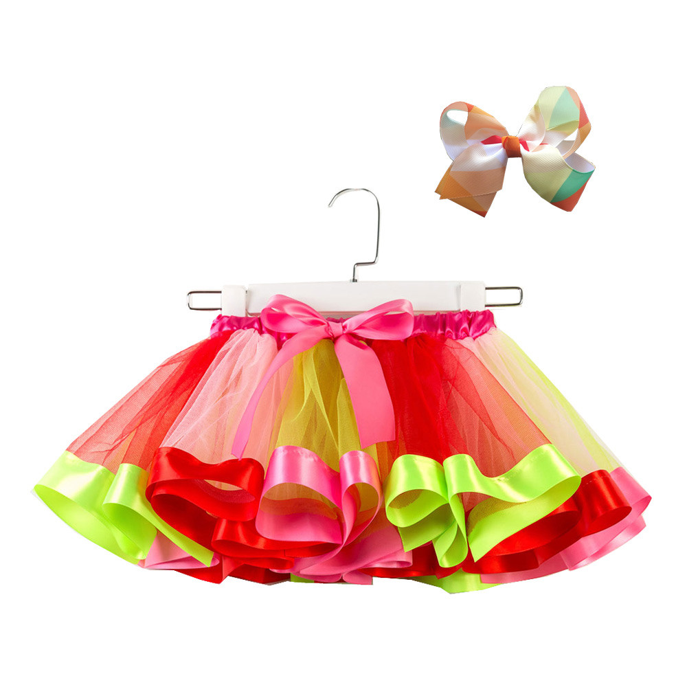 Baby Girls Tutu Party Dance Ballet Toddler Baby Costume Skirt+Bow Hairpin Set