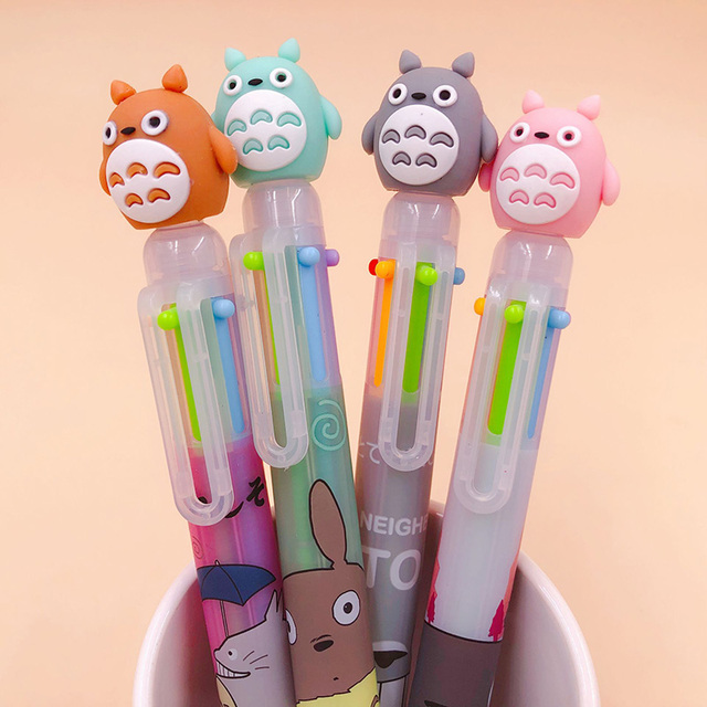 1PC 6 Colors In 1 Ballpoint Pens Cute Totoro Pens Kawaii Multicolor Ball Pens For Kids Gift School Office Supplies Stationery 3