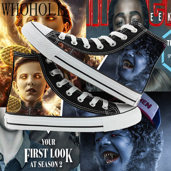 Stranger Things Joyce Eleven Mike High-top Print Canvas Shoes Male And Female Couples Flat Shoes Graffiti Vulcanized Shoes