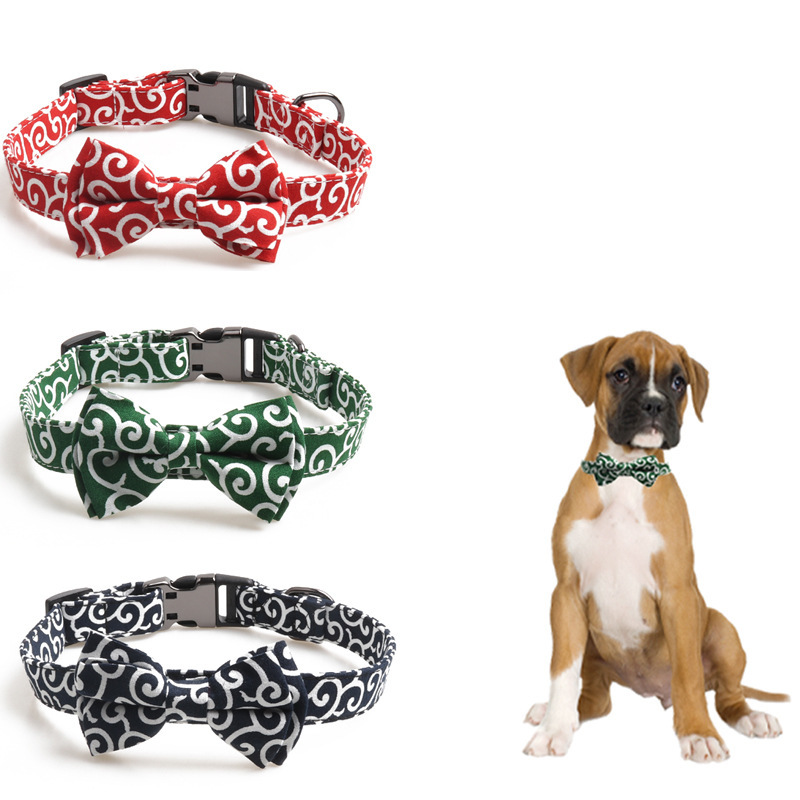 Arabesque Color Pet Collar Japanese-style Bow Release Buckle Dog Neck Ring Semi-metallic Release Buckle Medium Large Dog Can Car