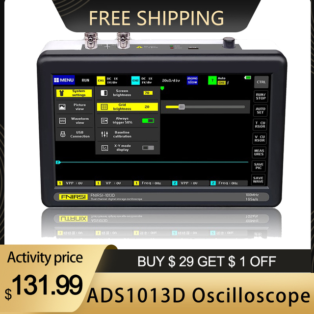 ADS1013D 2 Canali 100MHz Larghezza di Banda 1GSa/s frequenza di Campionamento Oscilloscopio con 7 Pollici A Colori TFT LCD Toccare schermo