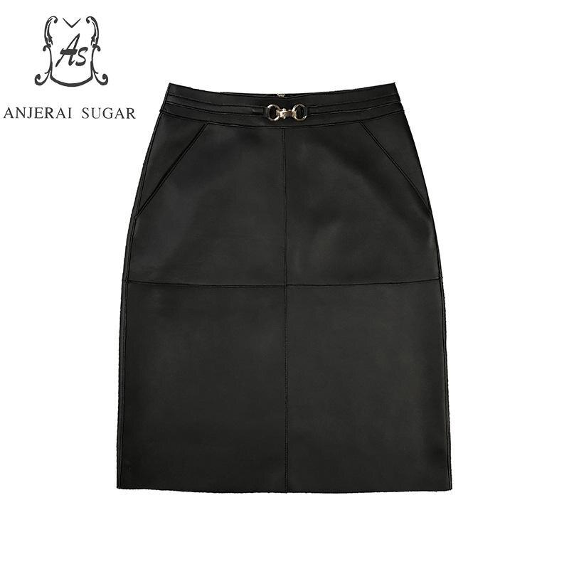 Hot DealsëSkirt Black Yellow Green Genuine-Leather Women Spring Female Office Sexy Waist Package¡