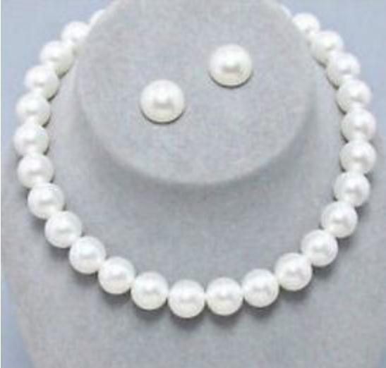 10-11mm naturel mer du sud blanc collier de perles 18 pouces 14k or fermoir boucle d'oreille gratuite