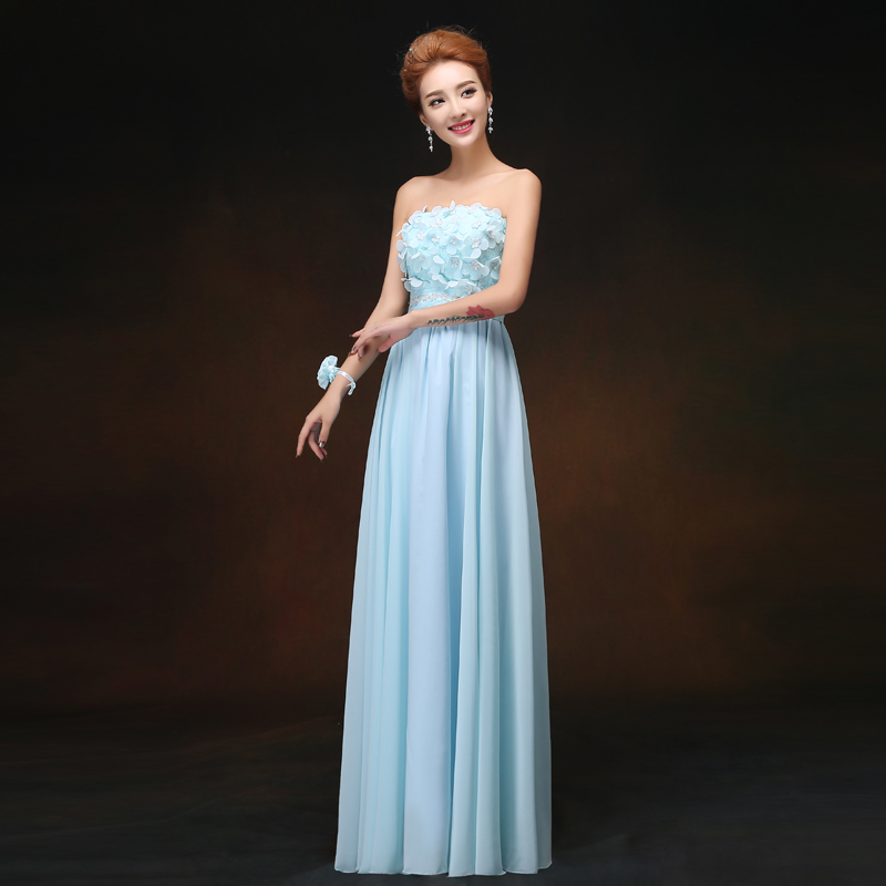 Blue Long Chiffon Bridesmaid Dresses Sister Vestido Azul Marino Maid Of Honor Dresses For Wedding Guest Dress Sexy Prom Party