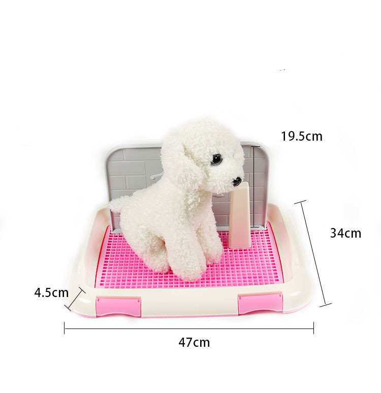 SaiDeng Portable Pet Dog Cat Toilet Tray With Column Urinal Bowl Pee Training Toilet