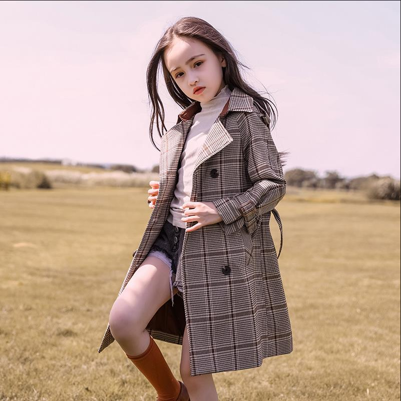 Baby clothes children's windbreaker long sleeve lapel plaid coat on the girls modis trench coat for girls Y2640 with belt
