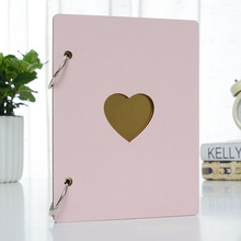6 Inch Photo Album Baby Growth Wooden Cover Family Memory Commemorative Craft Anniversary Record DIY Gifts Love Heart Decor