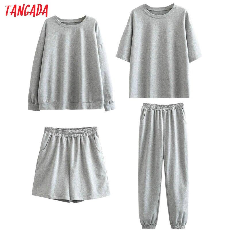 Tangada 2020 Autumn Women Terry 95% cotton suit oversized 4 pieces sets o neck hoodies sweatshirt shorts pants suits 6L30 6