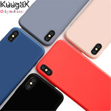 For Apple iPhone 6 6S 7 8 Plus X Xs Max XR cover 1:1 original official silicone case with Soft LOGO Fundas Cover Colorful
