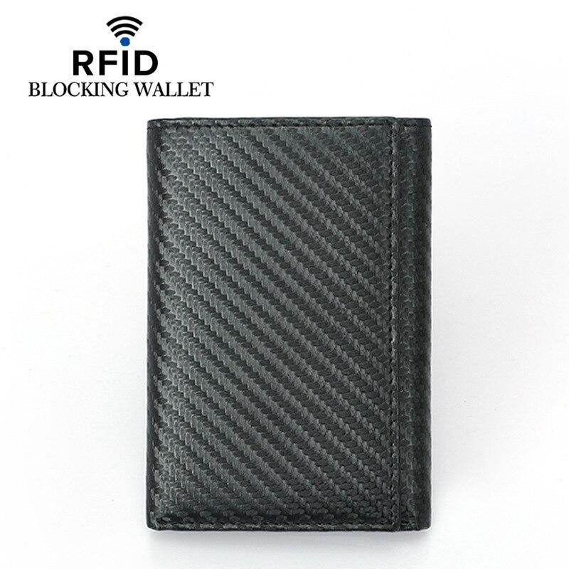 New Carbon Fiber Slim Credit Card Holder Thin RFID Tri-fold Wallets PU Leather Driver License Cover Holder For Men Card Wallet