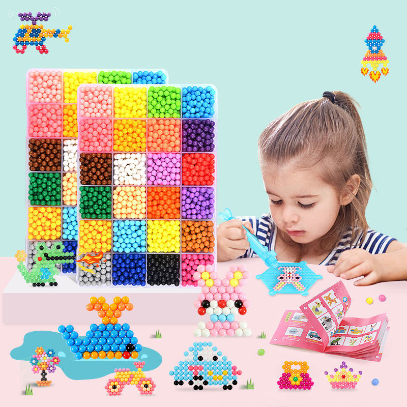 11000pcs Children Beads Puzzle DIY Magic Beads Animal Molds Hand Making 3D Puzzle Kids Educational Beads Toys For Children Toys