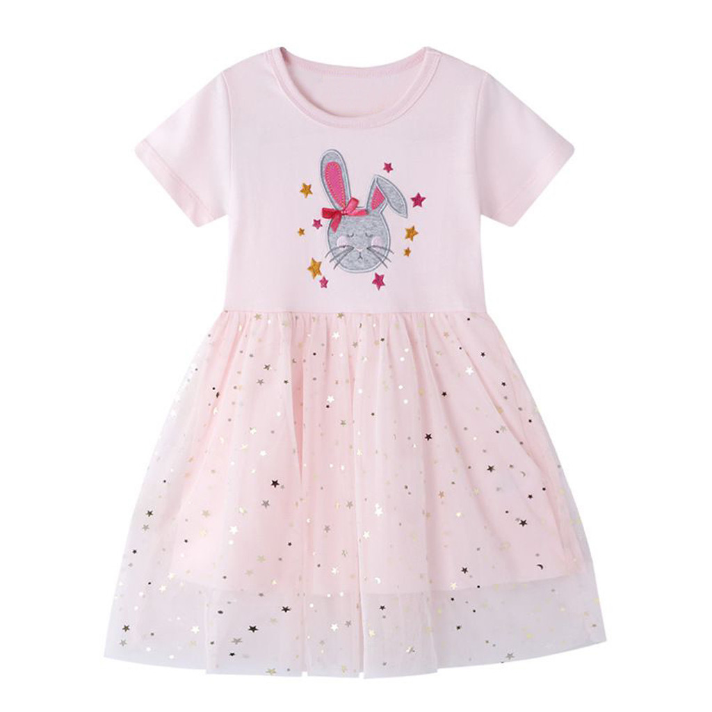 Short Sleeve Sequins Tulle Princess Dress Vestidos Newborn Baby Girl Clothes Summer Children Girls Dresses Casual Robe Fille