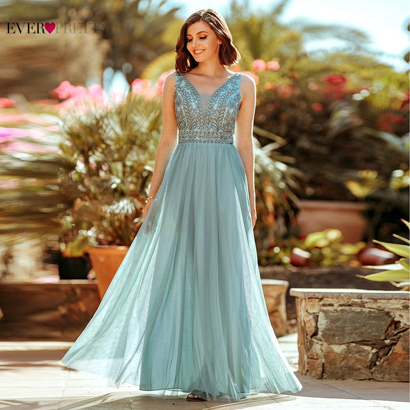 Elegant Beaded Evening Dresses Ever Pretty A-Line Double V-Neck Sleeveless Tulle Embroidery Evening Gowns For Party Vestidos