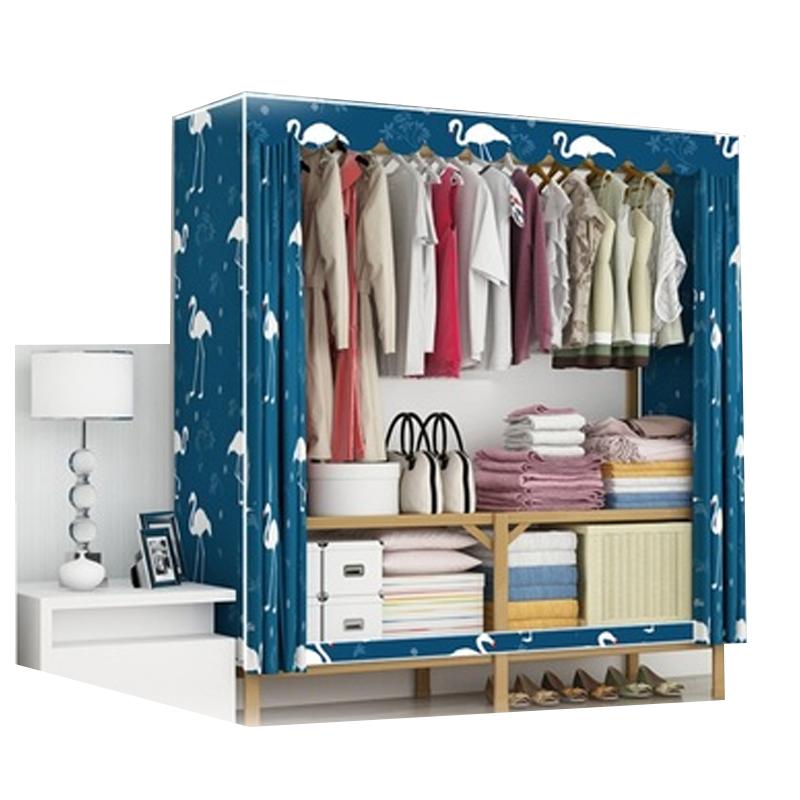 Wardrobe simple cloth wardrobe folding free installation steel pipe bold reinforcement all steel frame fabric storage cabinet