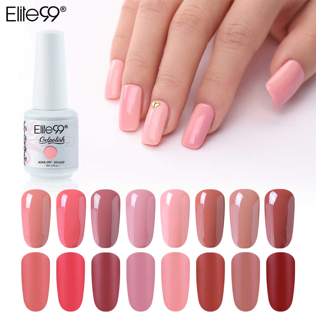 Elite99 8ml desnuda esmalte de uñas de gel de colores soak off UV gel Polish manicura barnices híbridos Semi permanente capa superior para base de Arte de uñas