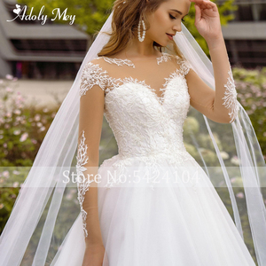 Image 3 - Adoly Mey Neue Elegante Scoop Neck Volle Hülse A Line Hochzeit Kleid 2020 Luxus Perlen Appliques Gericht Zug Bohemian Wedding Kleid