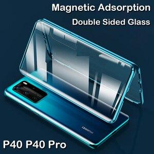 Magnetyczny pokrowiec do Huawei P40 Pro Coque Mate 30 20X 5G P30 P20 metalowy zderzak Honor X10 zagraj w 4T 30 30S uwaga 10 9X 8X MAX szklany futerał