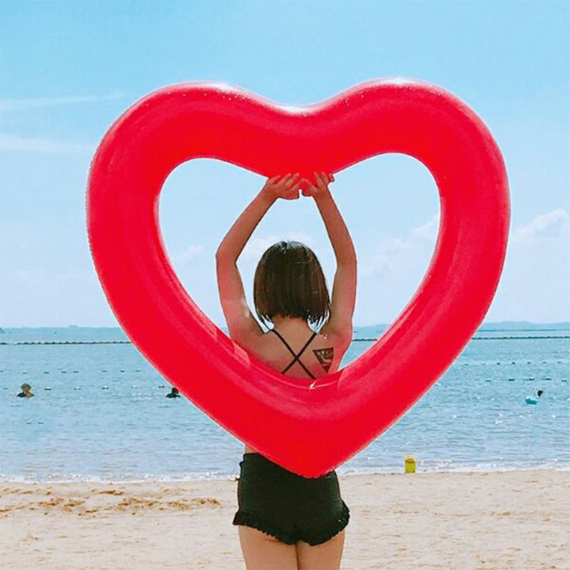 2020 New Inflatable Swim Ring Red Heart-Shape Floating Tools Swimming Pool Life Buoy