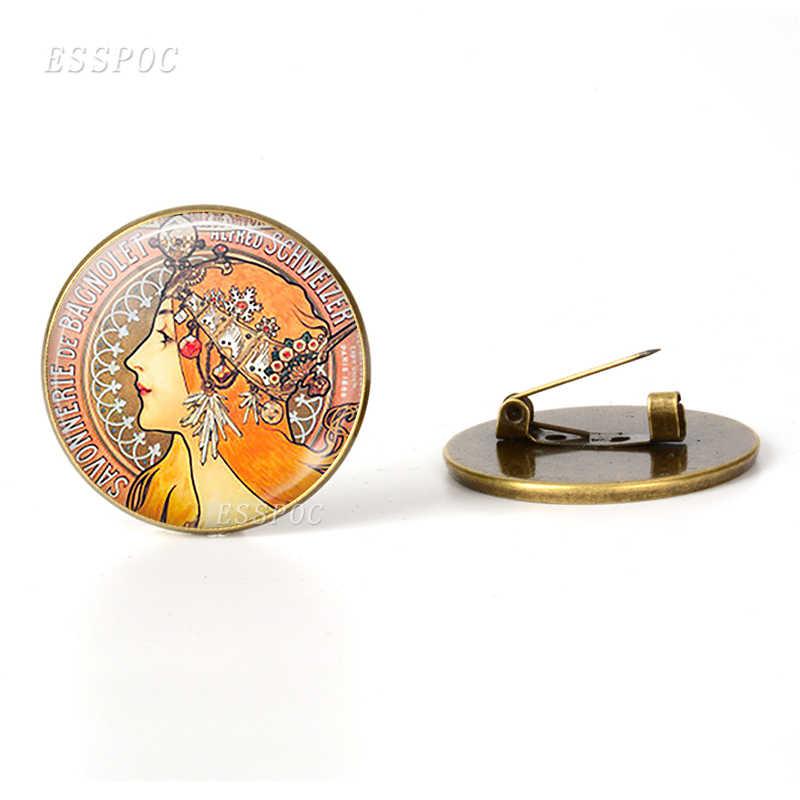 Retro klimt mãe e criança arte bronze broche de vidro cúpula artesanal jóias klimt acessórios broches presente do dia da mãe