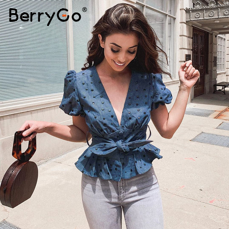 BerryGo Vintage blue polka dot peplum top women Sexy holiday beach summer tops shirt V neck bow sash buttons female top blouses(China)