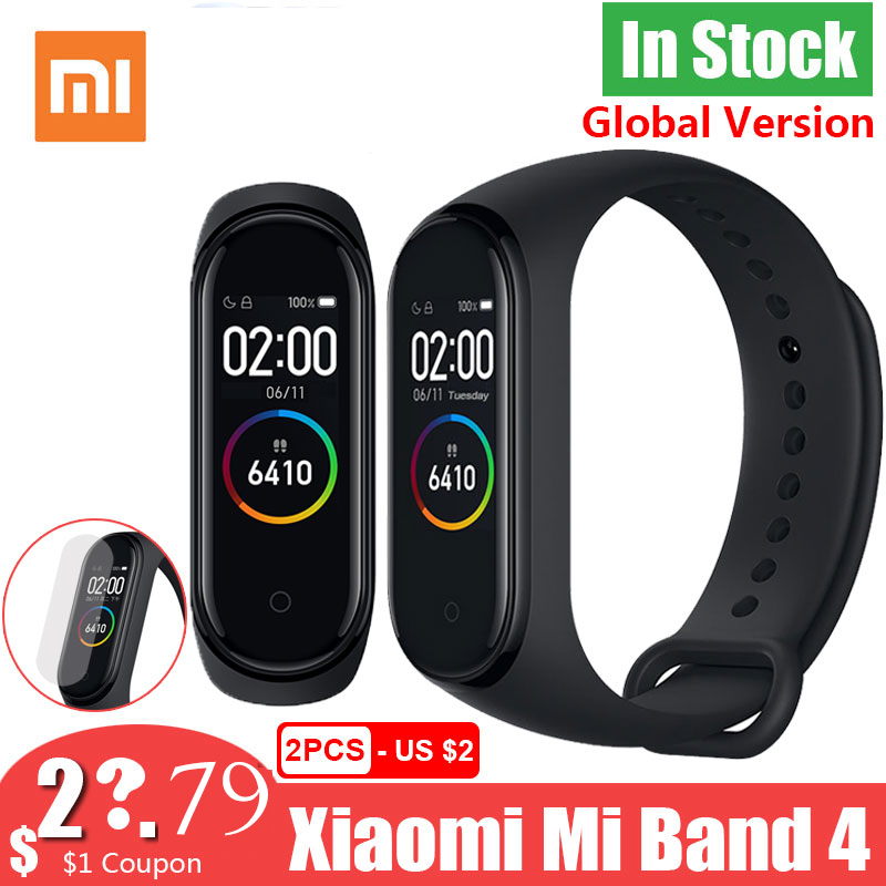 New Global Version Xiaomi Mi Band 4 Band4 Smart Miband 3 Color  Screen Bracelet Heart Rate Fitness Music 50M Waterproof BluetoothSmart  Wristbands