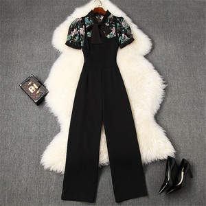 Lady Fashion Summer Suit 2piece Set Women Runway Designers Short Sleeve Bow Collar Floral Chiffon Blouse and Pants Matching Sets