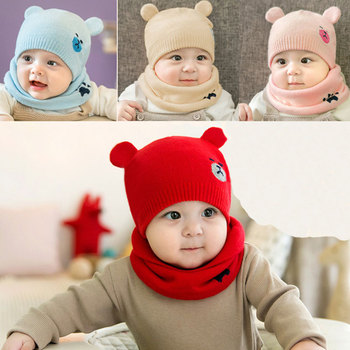 Autumn And Winter New Children's Knitted Wool Hat Bib Two-piece Cute Bear Thick Warm Men And Women Baby Bib Knit Hat july baby new autumn and winter cute children s handmade knitted hat scarf two piece baby warm wool big ball scarf two piece