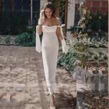 Simple Short Wedding Gowns 2021 Robe De Mariee  Elegant Satin Pearls Spaghetti Straps Sheath White Bride Dress Vestido De Noiva