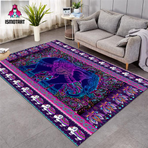 Elephant by Ismot Esha Large Carpets Hippie Living Room Floor Mat Paisley Psychedelic Center Rug 122x183cm Flower Boho Alfombra