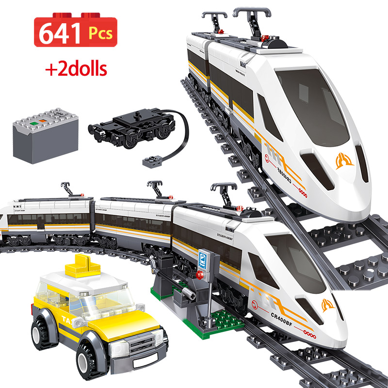 641pcs Electric Revival High-speed Rail Building Blocks Compatibe Legoing City Technical Railway Train Bricks Toys For Children