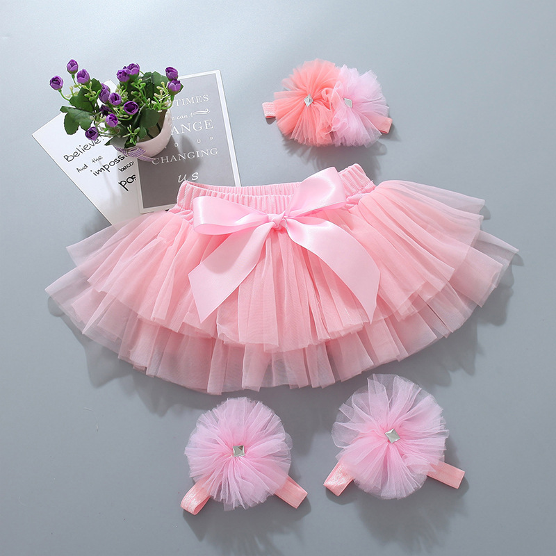 Baby Girls Tutu Bloomers Infant Newborn Shorts Diapers Cover 2pcs Skirts+Headband Set Tutu Skirt Girls Skirts Baby Clothes