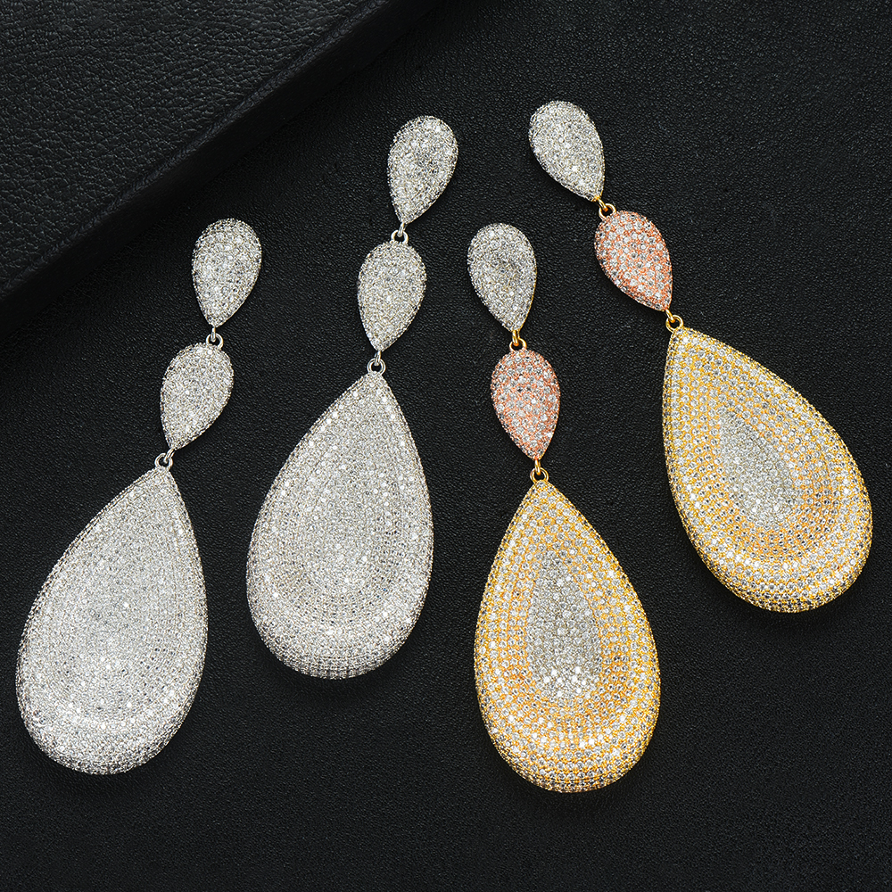 GODKI 90mm Luxury Tricolor Dangle Earrings Trendy Cubic Zircon Wedding Engagement Party Indian gold earrings for women 2019