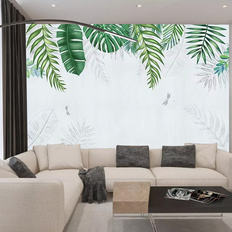 Northern European-Style Plant Wallpaper Customizable Living Room Bedroom TV Backdrop Wall Mural Seamless Large Mural Wall Cloth