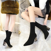 2019 Fashion Spring Autumn Stretch Boots Chunky High Heels Pointed Toe Women Shoes  Women Black Mid-Calf Sock Boots new women fashion mid calf boots for spring autumn pointed toe high heel cross tied black solid shoes lady lace up thin heels
