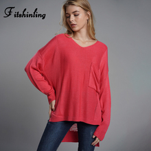 Fitshinling Ripped Irregular Sweater Women Knitting Clothing Pocket Long Pullovers Solid V Neck Winter Sweaters Jumpers Female ripped v neck sweater