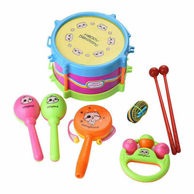 5pcs Newborn Baby Kids Roll Drum Musical Instruments Band Kit Children Toy Gift