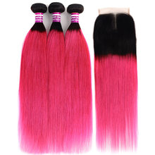 Ombre T1b Pink Peruvian Hair Colored Roots 3/4 Bundles With Closure Remy Human Extension Straight