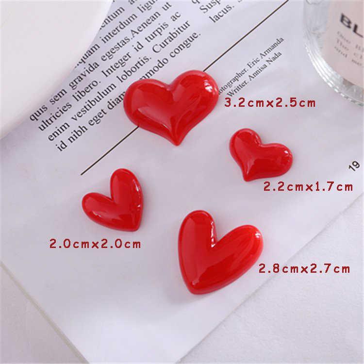 Ímãs de refrigerador de resina em forma de coração vermelho, acessórios diy, decoração de geladeira