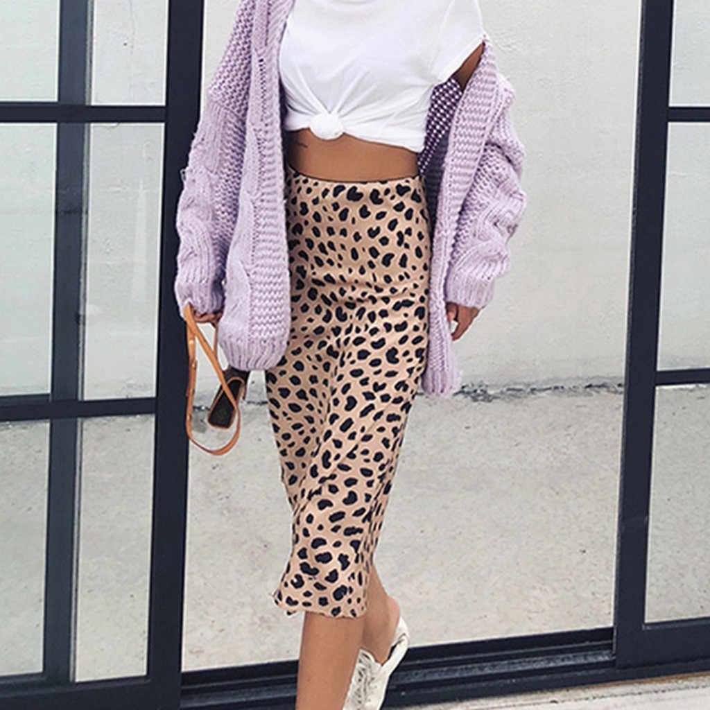 Wysoka talia Leopard spódnica trzy czwarte kobiet ukryte elastyczny pas Silk Satin spódnice Slip styl zwierząt druku spódnica kobiety Plus # G1